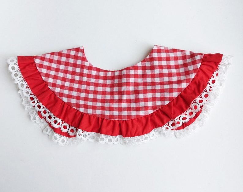 Lace Red Ginham Peter Pan Collar Handmade Babydoll Ruffled Collar