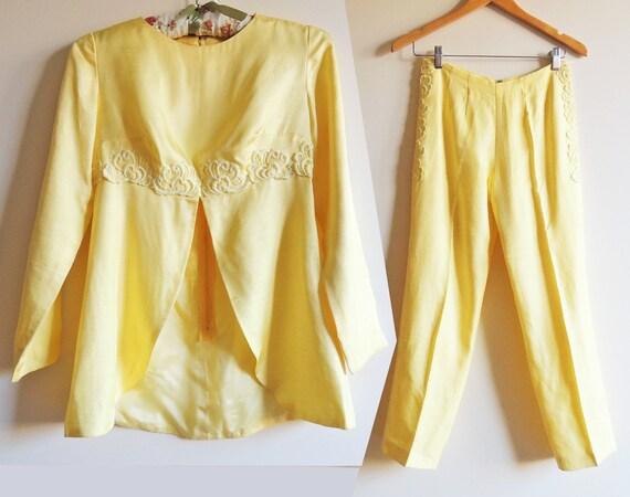 Vintage 1960's Lemon Yellow Ensemble - Pant Suit,