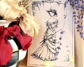 GARDEN STROLL Pen and Ink Illustration by Bernadette Banner - Print