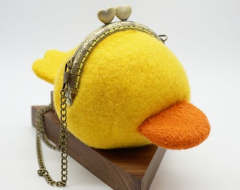 MADE TO ORDER- Felt wool Faceless Duck Handbag