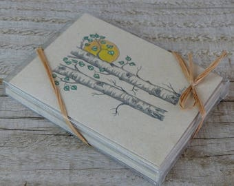 Aspen Tree Note Cards, blank inside, boxed set of six, gift set, mountain lover gift, tree lover, friend gift, birch tree, tree with birds
