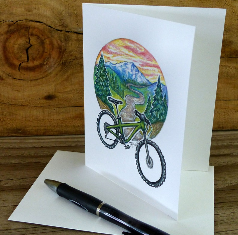 gift set boxed set blank inside mountain bike note cards bike and mountain scene gift set mountain biking