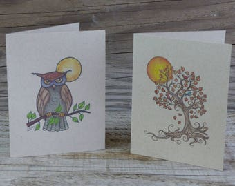 Owl Tree and Moon Note Cards, set of 6, blank inside, kraft note cards, owl lover gift, boxed set, nature lover gift, bird lover gift