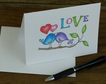 Cute Love Note Cards, Love Birds, Together Forever, Birds on a Branch, Card Set,  blank inside Mother's Day Gift, Wedding Gift