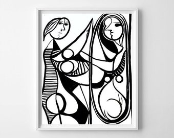 Abstract picasso-style black and white painting (print)
