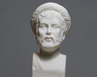 Pythagoras Philosopher Mathematician Scientist Bust Statue Sculpture 6.3in - 16cm