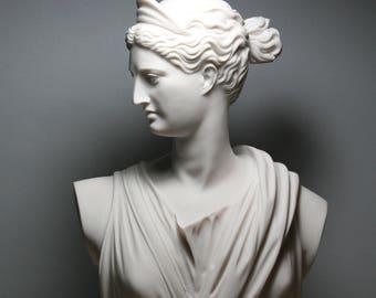 ARTEMIS DIANA Bust Head Greek Roman Goddess Cast Marble Statue Sculpture 11.8in - 30 cm
