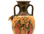 Ancient Greek Vase Amphora Goddess Athena, Aphrodite God Dionysus 10.24in 26cm Free Shipping - Free Tracking Number