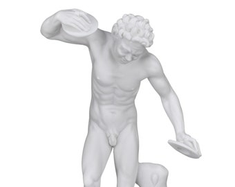 dancing satyr faun with cymbals nude male Greek Roman Statue Sculpture cast marble museum copy