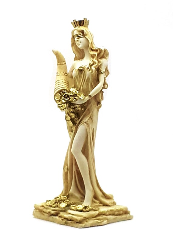 Goddess Of Wealth Tyche Lady Luck Fortuna Statue Alabaster Etsy