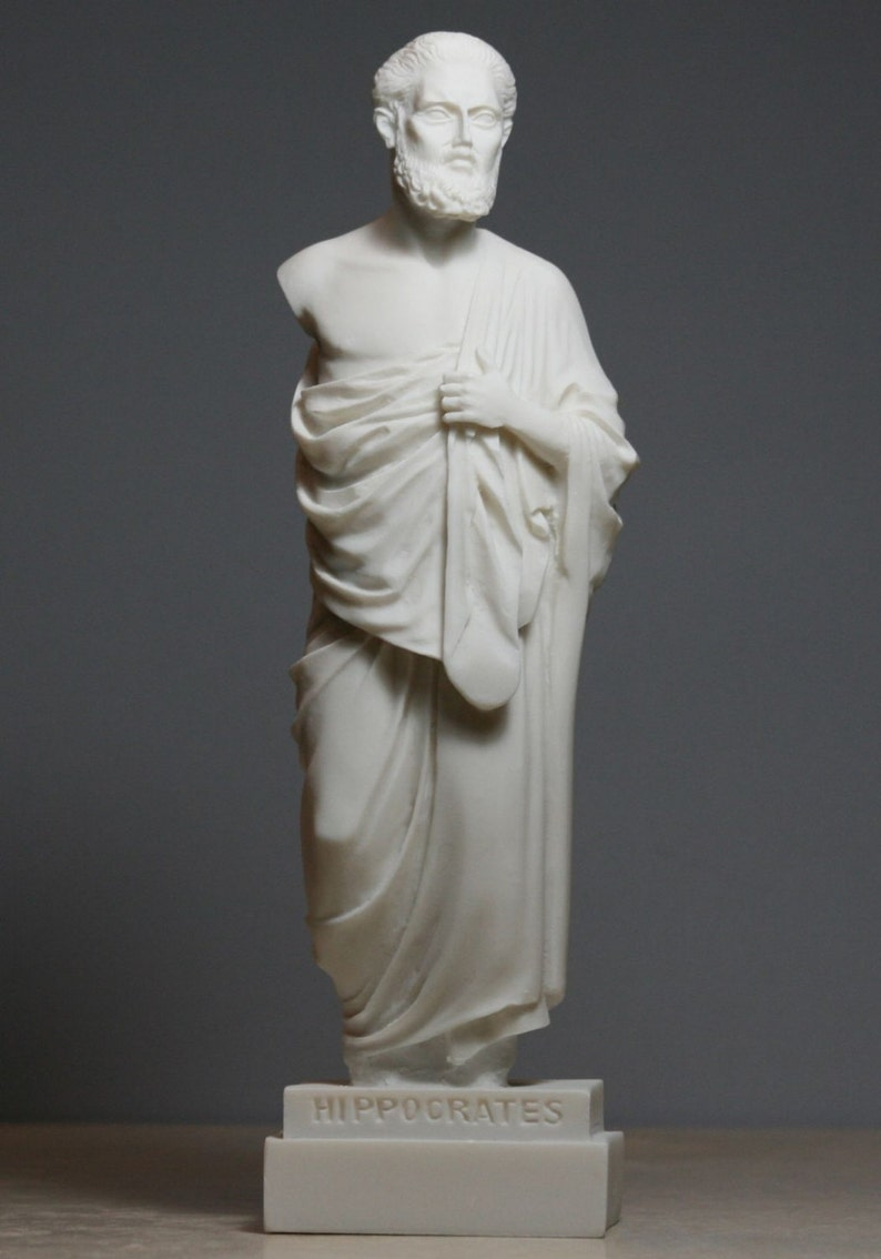 Hippocrates Father of Modern Medicine Physician Alabaster Statue Sculpture  9 45in - 24cm **Free Shipping & Free Tracking Number**