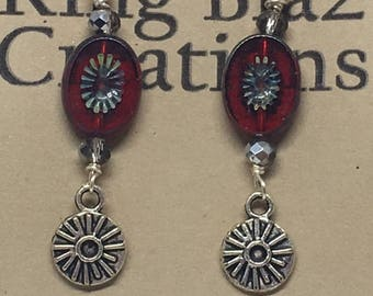 E1859:  Red Czech Glass Disk Dangle Earrings with Czech Crystals