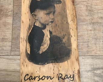 Live edge wood picture photo transfer