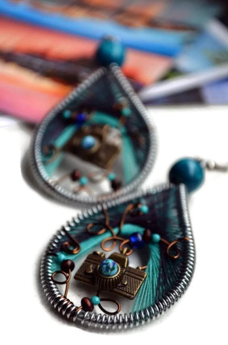 Camera Earrings / Photographers Gift / Travel earrings / image 0