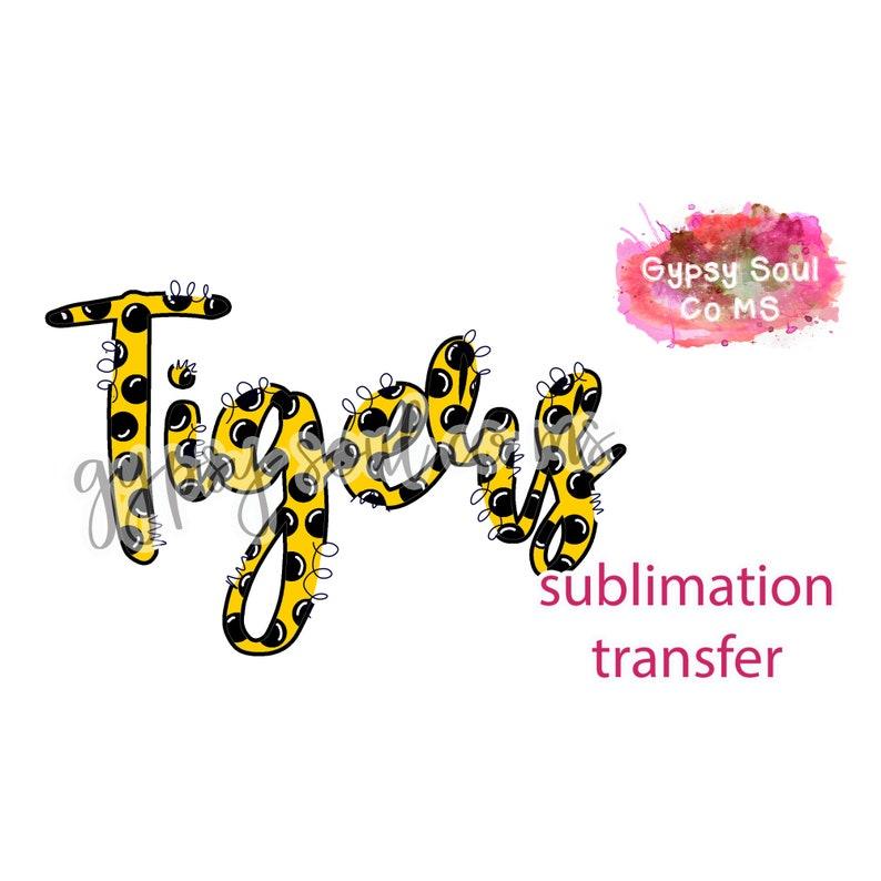 Tigers Polka Dot Gold Black SUBLIMATION TRANSFER ONLY