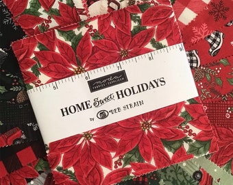 "Home Sweet Holidays Charm Pack by Deb Strain for Moda Fabrics, (42) 5"" Precut Cotton Christmas Squares, Moda Holiday Charm Pack"