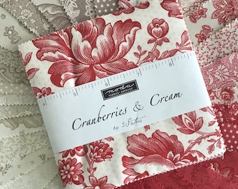 """Cranberries & Cream Charm Pack by 3 Sisters for Moda Fabrics, (42) 5"""" Precut Cotton Quilt Strips in a Red and Cream Color Palette"""