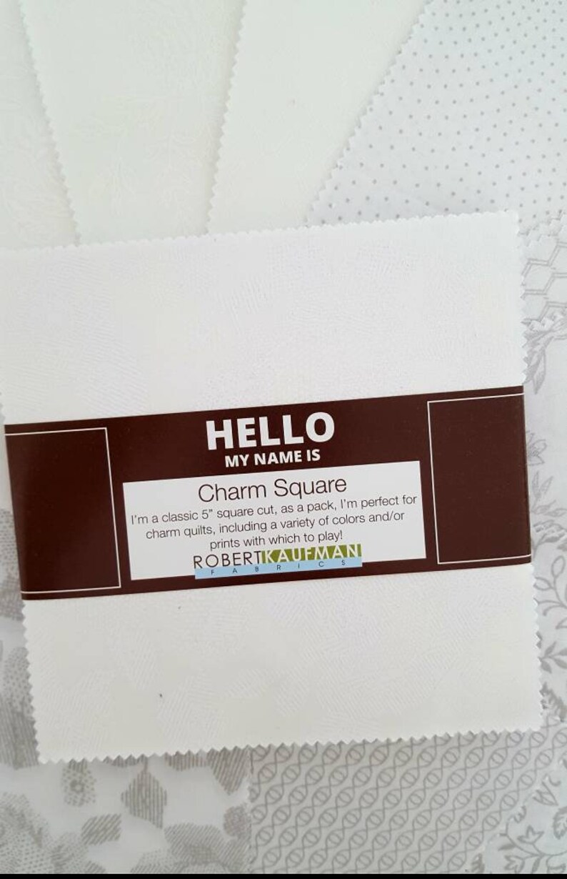 42 5-Inch Precut Cotton Squares in White-on-White and Gray Prints Whisper Prints Charm Pack by Robert Kaufman