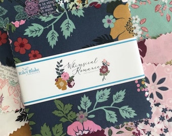 """Whimsical Romance 5"""" Stacker by Keera Job Design for Riley Blake Designs, (42) Precut Cotton Quilt Squares, 18 Different Prints"""