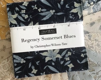 """Regency Somerset Blues Charm Pack by Christopher Wilson-Tate for Moda Fabrics, (42) 5"""" Precut Traditional Cotton Quilt Squares"""