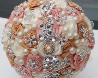 Brooch bouquet ivory, orange, beige fabric bouquet, bride bouquet, bridesmaids bouquet