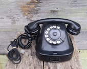 Vintage rotary phone, Bakelite phone, Black rotary telephone, Desk phone, Retro phone, Old phone, Home decor, Hotel phone, Office phone.