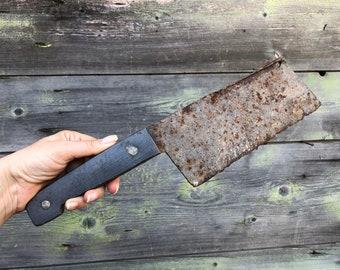 Old Meat Chopper with Plastic Handle; Steel Butcher Knife; Old Butcher Chopper; Soviet Vintage Kitchen Tool Soviet Vintage Meat Cleaver