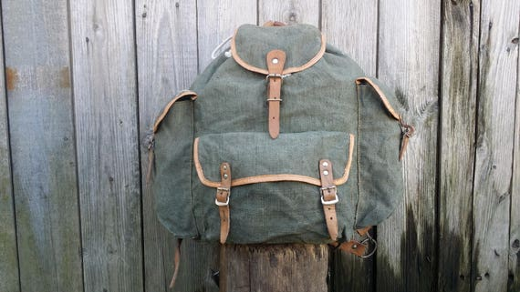 Vintage canvas backpack, Military backpack, Hiking