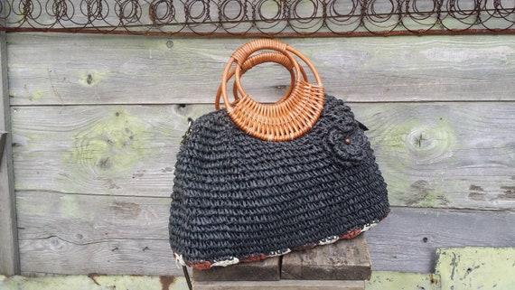 Vintage straw bag, Straw tote, Shoulder straw bag,