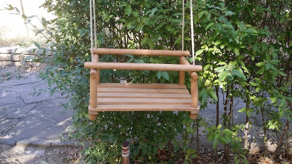 Vintage Garden Swing Rope Swing Wooden Swing Outdoor Tree Swing Childrens Swing Kids Swing Farmhouse Decor Gift