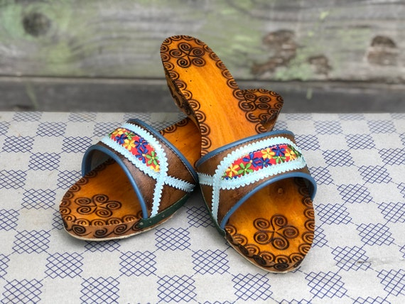 Vintage Wooden Slippers, Women Slippers, Embroider
