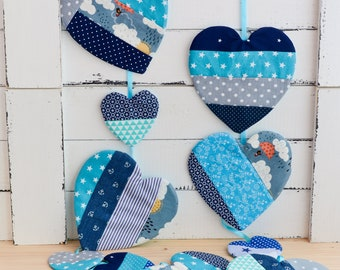 Fabric garland, wall decor, bridal shower, nursery garland, Valentine's Day wall decor, Boho garland banner, hearts garland, bunting banner