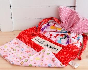 Unique personalized bag for daycare, nursery drawstrings bag, baby gift, drawstrings bag, diapers bag, library bag, beach bag, walking's bag