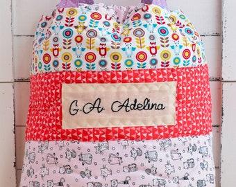 Personalized daycare bag, nursery bag, baby gift, drawstrings bag, diapers bag, beach bag, baby shower gift, kindergarten bag, lingerie bag