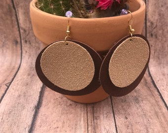 Layered Circle Suede Earrings