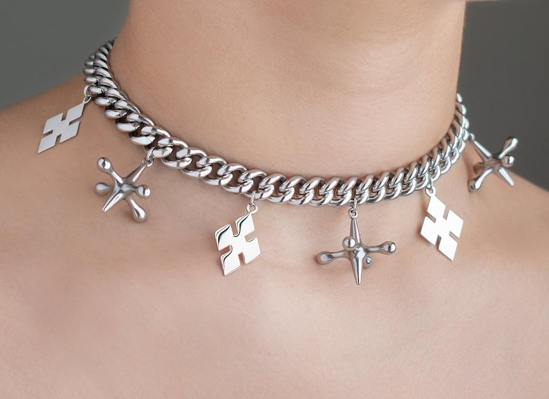 Harley Quinn Birds of Prey jacks and diamonds choker necklace. image 0