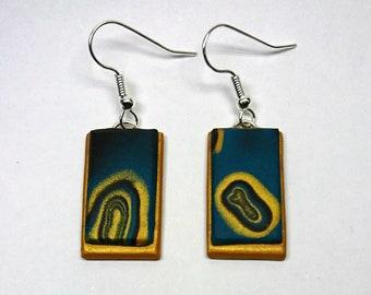 Turquoise and black rectangle dangle earrings_unique handmade mokume gane polymer clay jewellery
