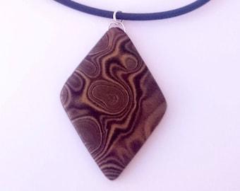 Black and gold diamond pendant necklace_unique handmade mokume gane polymer clay jewellery