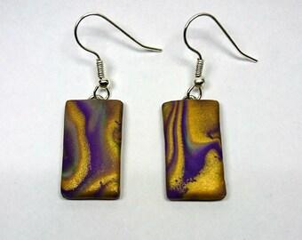 Purple, gold and green rectangle dangle earrings_unique handmade mokume gane polymer clay jewellery