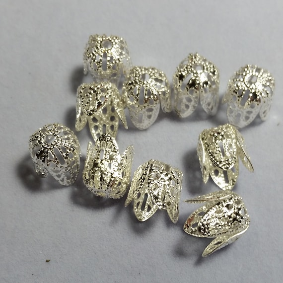 50pcs Antique Silver Tibetan Style 6 Petal Flower Bead Caps 6mm Jewelry Findings