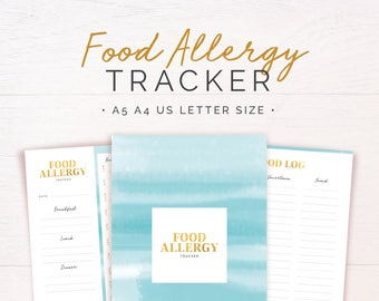 Food Allergy Tracker O Intolerances Diary Meal Planner Daily Health A5 A4 Letter PRINTABLE