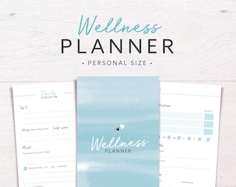 Wellness Planner | PERSONAL SIZE • Health & Fitness • Wellbeing Planner • Health Journal • Workout Planner • Printable Inserts