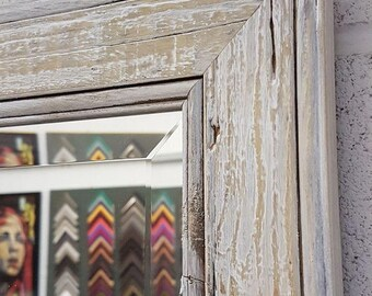 Handcrafted Mirror White drift wood shabby chic solid wood