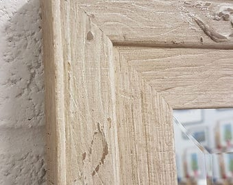 Handcrafted Mirror Distressed cream solid wood uk made