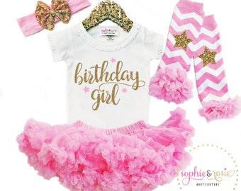First Birthday Outfit, Birthday Girl Shirt, 1st Birthday Outfit, One Birthday, Girls Gold Pink Birthday, Cake Smash Outfit, Pink Tutu