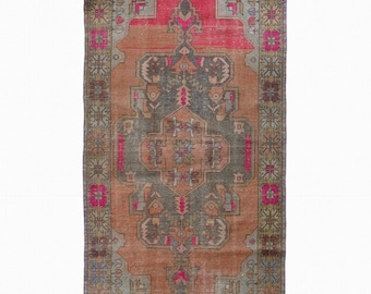 Turkish Oushak Rug Area Rug Antique Overdyed Rug FREE SHIPPING! / 4'1 x 8'3 ft