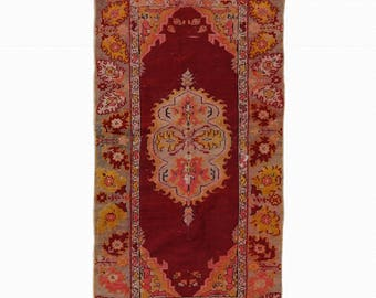 Turkish Oushak Rug Red kitchen Hallway Runner Rug FREE SHIPPING! / 2'5''x4'9''ft