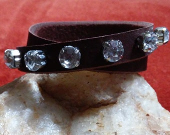 Leather & Rhinestone Cross Wrap Bracelet