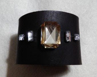 Leather & Rhinestone Wrap Cuff Bracelet
