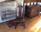 A Late 17th Early 18th Century Antique Oak Joined Backstool Chair With Carved Leaf Detail